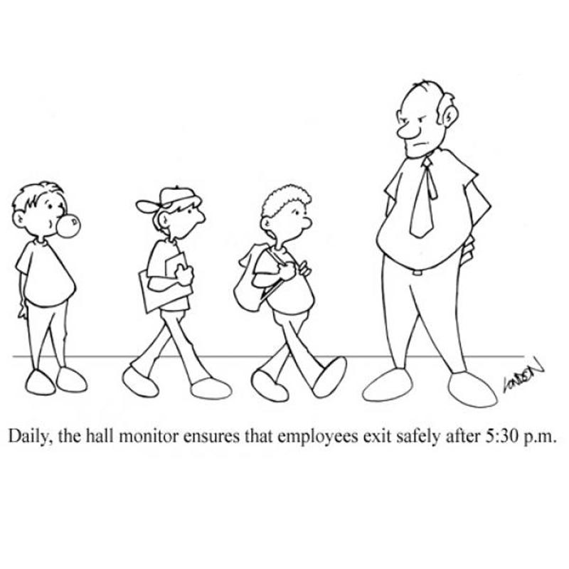 Daily, the hall monitor ensures that employees exit safely after 5:30 p.m.