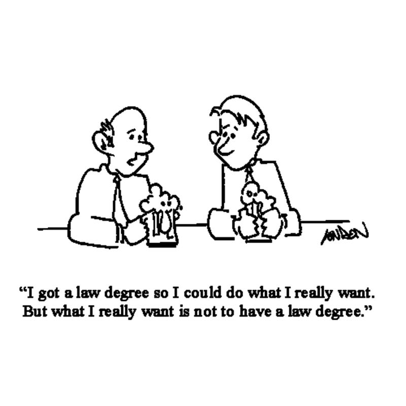I got a law degree so I could do what I really want. But what I really want is not to have a law degree.